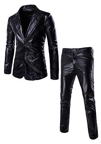 Französisch Manschette-punkt-kragen-hemd (DOOXIUNDI männer - slim fit metallic - farbe performance - anzug (XL, schwarz))