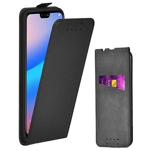 Adicase Huawei P20 Lite Hülle Leder Tasche für Huawei P20 Lite Handyhülle Flip Case Sch