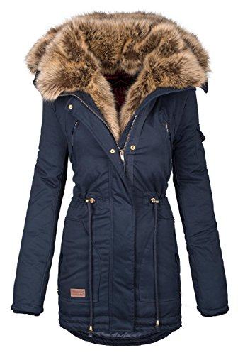 Navahoo warme Damen Winter Jacke Parka lang Mantel Winterjacke Fell Kragen B380 [B380-Navy-Gr.XL]