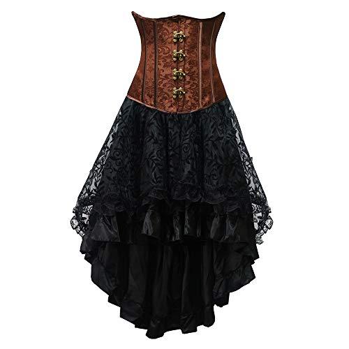 Liyukee S-6XL Frauen Hohe Taille Gothic Korsett Set Steampunk Korsett Kleid Meerjungfrau Stil Korsett Kleid Set Sommer Taille Trainer Korsett