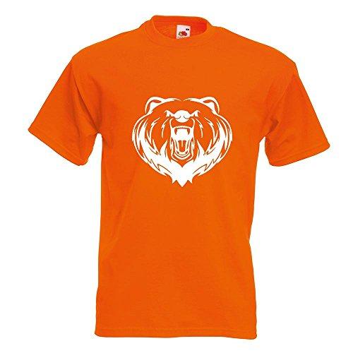 Kiwistar Grizzly Bear - Bär - T-Shirt in 15 Verschiedenen Farben - Herren Funshirt Bedruckt Design Sprüche Spruch Motive Oberteil Baumwolle Print Größe S M L XL XXL Orange