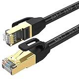 Cable de Ethernet Cat 7, cable de red chapado en oro, de alta velocidad de 10Gbps, con conector RJ45 para módem, router, panel de conexión, ordenador, portátil y caja de televisión digital negro 0,5M