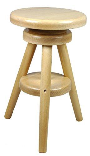 Hocker Massiv Schemel Stuhl Sitz Sitzmöbel Buche Drehhocker Barhocke 52-70cm (Lackiert Buche)