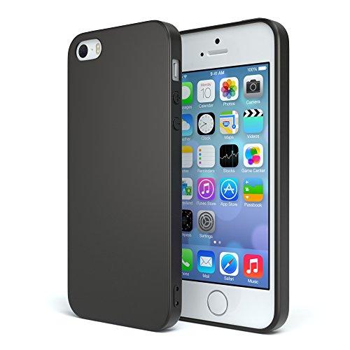 EAZY CASE Handyhülle Silikon mit Kameraschutz Apple iPhone 5 / iPhone 5S / iPhone SE in Schwarz Matt, Ultra Dünn, Slimcover Silikonhülle, Hülle, Softcase, Backcover
