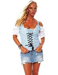 10603 Fashion4Young Damen Dirndlbluse Bluse Trachtenbluse Trachten Oktoberfest Hemd Lederhose Dirndl
