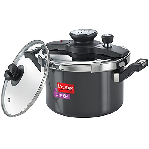 24 Off On Prestige Clip On Aluminium Pressure Cooker With Glass Lid 5 Litres 2 Pieces