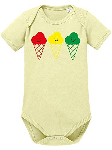 Buntes Eis - Niedliche bunte Eistüten mit Gesicht - Bio Baby Kurzarmbody (Bob Marley-baby-kleidung)