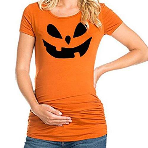 Halloween Kostüm Mutterschaft - Yanhoo Frauen Kurzarm Schwangere Mutterschaft Gesicht Gedruckt Tops Halloween Bluse Damen Rundhals Smiley drucken Schwangere Shirt T(Orange,XL)