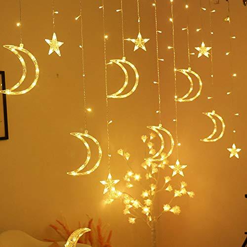 Luccase LED Vorhang Lichte 220V 8 Verschiedene Modi Mond Star Form Vorhang Licht LED Lichterkette Ins Weihnachtslicht Dekoration für Zuhause Schlafzimmer Terrasse Garten Hof oder Hochzeit -