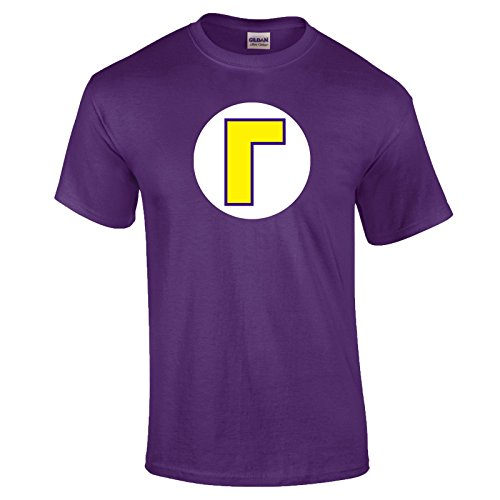 Mario Bros Logo T-Shirt Luigi Wario Waluigi Peach Retro Gaming Unisex T-Shirt - Purple -Waluigi - M (Kostüm Adult T Shirt Tee)