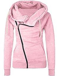 Shinekoo Femmes Lncliné Fermeture éclair Revers Veste Sweat-shirts Automne Vêtement