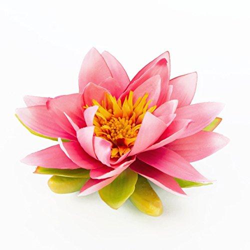 artplants Textil-Seerose Sanjana, schwimmend, pink, Ø 16 cm - künstliche Lotusblüte/Kunstblume