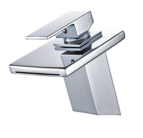 Armatur Bad Eckig Wasserhahn Mischbatterie Einhebelmischer Waschtischarmatur Badezimmer Wasserfall ()