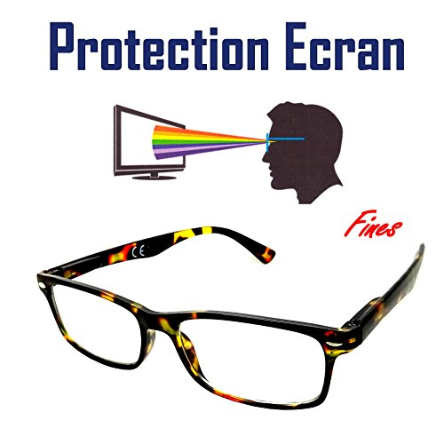 309123b23f LUNETTES PROTECTION ECRAN ANTI - LUMIÈRE BLEUE LED REPOS UV400 RECTANGLE  Marron écaille DESIGN