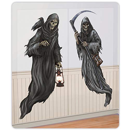 Amakando Gruselige Halloween-Wandkulisse Tod / 2-teilig 165 x 85 cm / Spukhaus Wandgestaltung Grim Reaper / EIN Blickfang zu Horror-Party & Zombie-Party