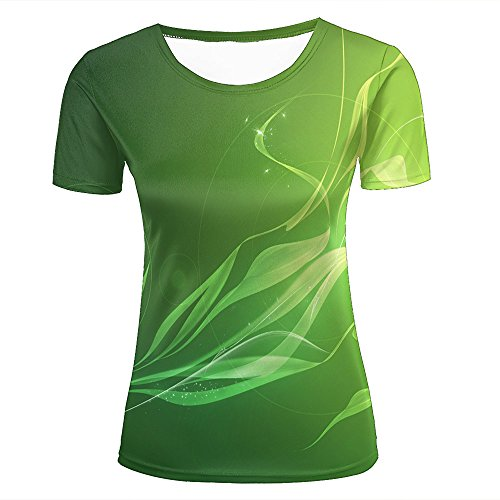 Womens Novelty 3D Print Creative Green Fluorescent Leaves Pattern Casual Short Sleeve T-Shirts Fashion Couple Tees XS (Top Butterfly Leaf)