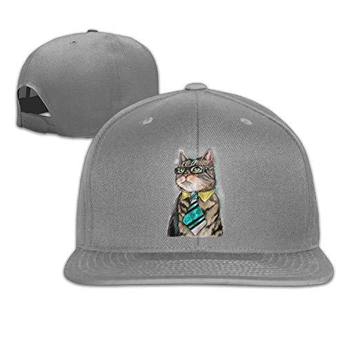 Kotdeqay Bespectacled Cat Snapback falt Hat Adjustable Baseball Cap ()