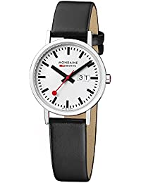Mondaine Men's Classic 36mm Big Date Watch with Stainless Steel Polished Case White Dial and Black Leather Strap A627.30314.11SBO