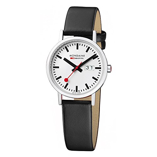 Mondaine Official Swiss Railways Watch Classic Women's/ Men's Watch, Date and Black Leather Strap