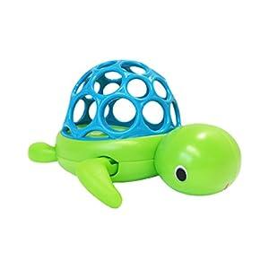 Oball Wind'n Swim Turtle, Badespielzeug aus flexiblem, leicht greifbarem Material, schwimmt selbstständig, ab 6 Monaten