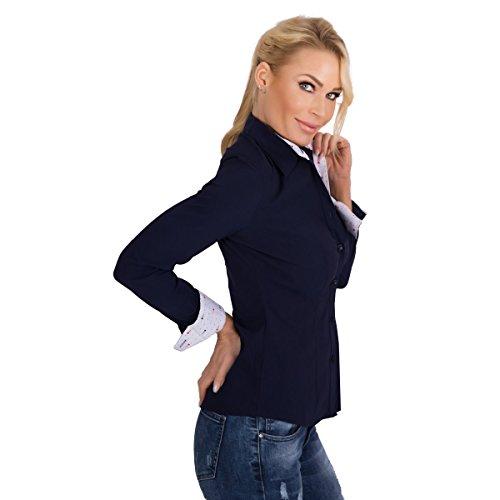 10300 Fashion4Young Damen Langarm Businessbluse taillierte Bluse Hemd Business Hemdbluse Stretchbluse Dunkelblau