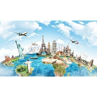 adrium Aufkleber-Bild 40 x 20 cm:Travel the world monument concept, Bild auf Aufkleber