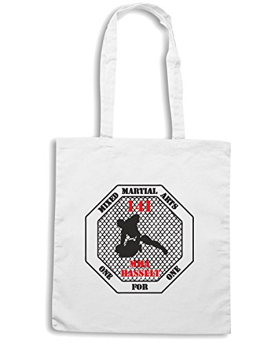 T-Shirtshock - Borsa Shopping TAM0201 mma mixed martial arts hooded tshirt Bianco