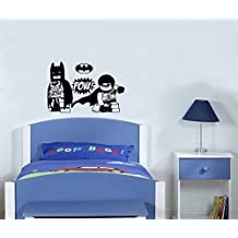 """Lego Batman y Robin personajes héroes de acción vinilo adhesivo de superhéroes ---Hecho por """"STICKINGTOIT"""" ---Ideal para el dormitorio de los niños/guardería/sala de estar - imagen del lema Mural------ Colores disponibles (si otro color comprueba el color tabla y mensaje nosotros enseguida con su elección que), vinilo, negro, 50 wide x 30 high cms"""