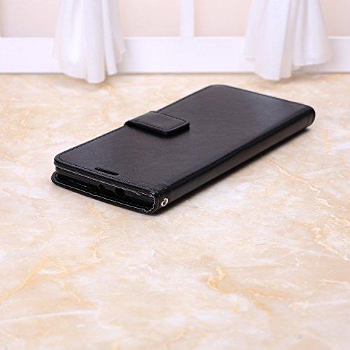 Wkae Case Cover Huawei caso Mate S, Cuoio folio modello di colore solido caso di stile di disegno del raccoglitore magnetico della copertura di vibrazione della copertura della cassa standup per Huawe Black