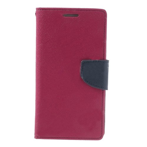 Acm Wallet Diary Flip Case For Nokia X Android Mobile Multi-Color Cover-Dark Pink With Dark Blue Inside  available at amazon for Rs.399