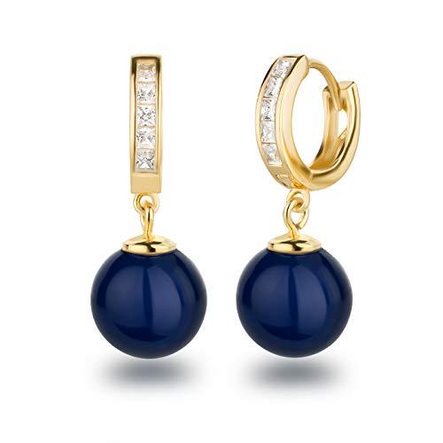 Schöner-SD 925 Silber vergoldet Creolen Ohrhänger mit 10mm Perle Kugel blau (Blau Und Gold Perlen)