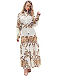 756816e72fa6 Glamaker Women's African Print Button Down Shirt Maxi Dress Loose Long  Sleeve Party Dress