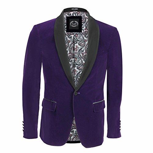 XPOSED SAMT-Rauchen Anzug Jacke Schwarz Schal Revers Blazer Smart-Formal Abendessen-Mantel [ Brust UK 38 EU 48, Lila]