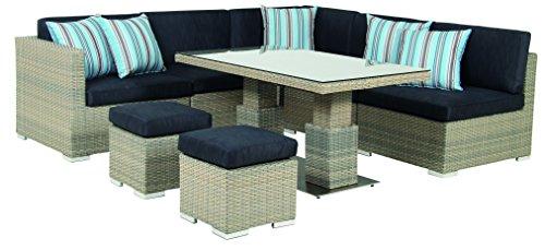 acamp Gartensitzgruppe Loungegruppe 8-teilig 57626 Modell sardinia Aluminium Gestell und Flex Mesh...