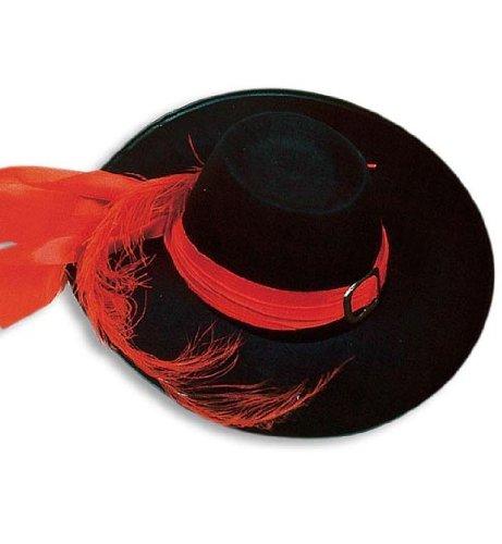 PARTY DISCOUNT ® Musketierhut groß m Band,Schnalle u.Feder,schwarz Musketier Hut Gr.58 (Große Hüte Party)