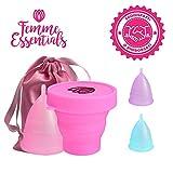 Coppetta Mestruale Femme Essentials + Coppa per la Sterilizzazione + Sacchetto di Cotone | 100% Silicone per Uso Medico | Ecologica, Sicura, Ipoallergenica e Comoda | Taglia: Large | Colore: Rosa