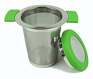Stainless Steel Tea Strainer with Anti Slip Handles - 0.5mm Micro Filter - Green