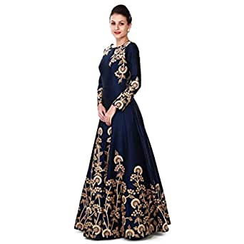 Ethnic Empire Women's Taffeta Silk Semi Stitched Anarkali Salwar Suits (Eed-Ea10756_Blue_Free Size)