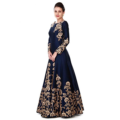 Ethnic Empire Women's Taffeta Silk Anarkali Salwar Suit Set (Eed-Ea10756_Blue_Free Size)