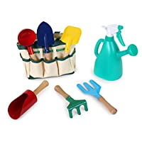 small foot 1710 Play tools garden and beach set in carry bag, 6 tools with wooden shaft and metal head incl watering can
