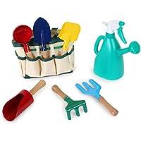 Small Foot Company 1710 Buntes Gartenspielzeug/Strandspielzeug inkl. praktischer Tragetasche, mit 6 Gartenwerkzeugen sowie 1 Gießkanne Spielzeug
