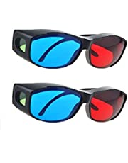 HONY 2 Pieces NV Red and Blue 3D Glasses Anaglyph for 3-D Movies for Laptops and Mobiles, Game DVD Green Frame