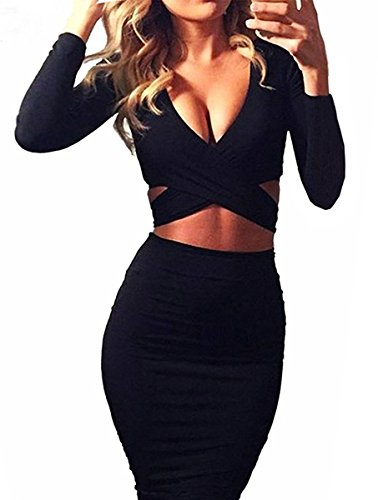 Damen V Ausschnitt Cut-Out Bandage Figurbetontes Knielang Abend Party Cocktailkleid Clubwear Langarm Bodycon Kleid Schwarz