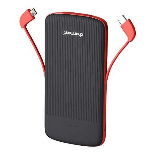10000mAh Externer Akku,Powerbank Externe Batterie Portable Ladegerät mit Eingebautem Typ C & Micro-USB-Kabel für iPhone Android Samsung Huawei und weitere Slim Handy Ladegerät (Schwarz)
