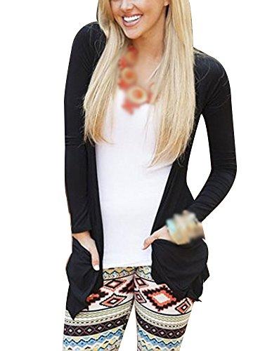 Donna Cardigan Leggero Cranio Cappotto Elegante Maniche Lunghe Due Tasche Comode Nero