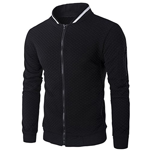 Männer Plaid Strickjacke CLOOM leichte Herrenjacken Zipper Sweatshirt Tops Outwear Sport herrenoberbekleidung Herbst übergangsjacke jung Herren Mantel Slim fit Business Windbreaker (M, Schwarz)