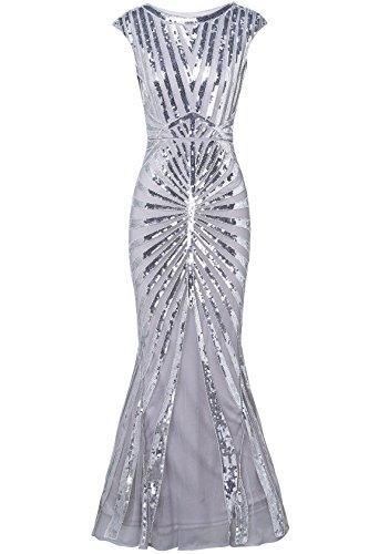 ArtiDeco 1920s Kleid Damen Maxi Lang Vintage Abendkleid Gatsby Motto Party 20er Jahre Flapper Kleid Damen Kostüm Kleid (Grau, L) (Motto-kleider Jahre 20er)