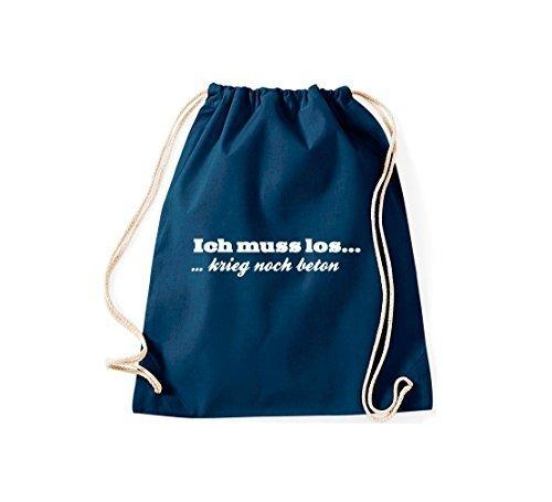 shirtstown Gymsac ICONICA DETTO ICH Must Los Krieg SOLO calcestruzzo - bianco, 37 cm x 46 cm blu