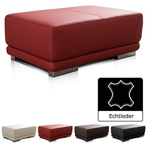 CAVADORE Lederhocker Corianne / Rechteckiger Beistellhocker in Echtleder / 103 x 41 x 69 / Echtleder rot - Rot Leder Liegen