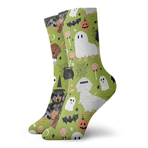 Jxrodekz Dachshund Halloween Men Women Novelty Funny Crazy Crew Sock Printed Sport Athletic Socks 30cm Long Personalized Gift Socks (E Halloween Que Dia)